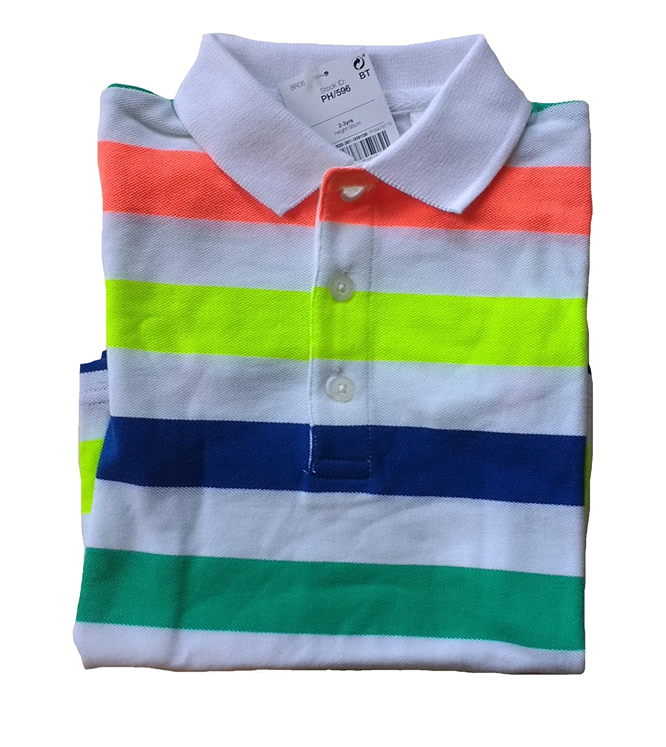 Next Baby Boys Bright Stripe Polo Top Age 12 18 24 Months Colourful T Shirt