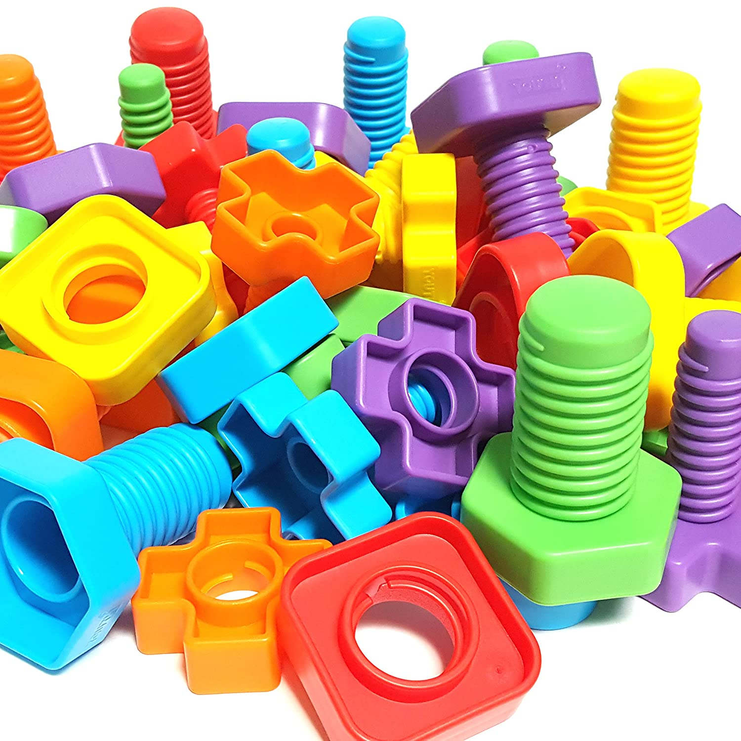 Jumbo Nuts And Bolts Set With Toy Storage And EBook | Montessori Toddler  Rainbow Matching Game
