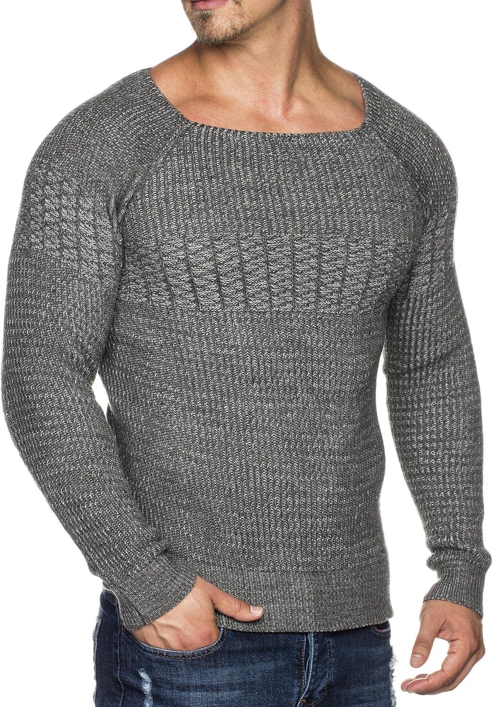 Tazzio maglione da uomo fantasia realizzato a maglia con collo largo di stile 16495