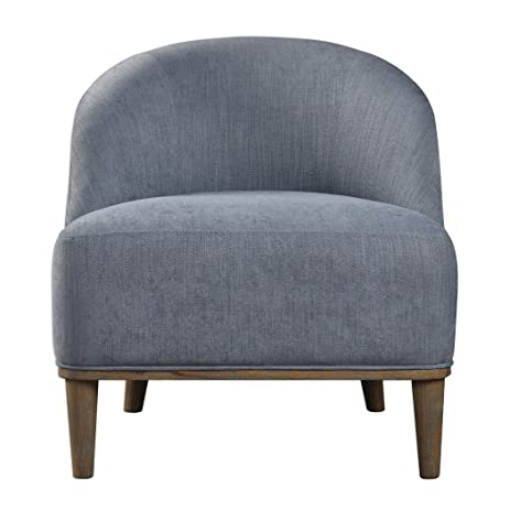 Silver Blue Gray Armless Club Chair | Thick Cushion Tapered Leg Mid Century  Modern