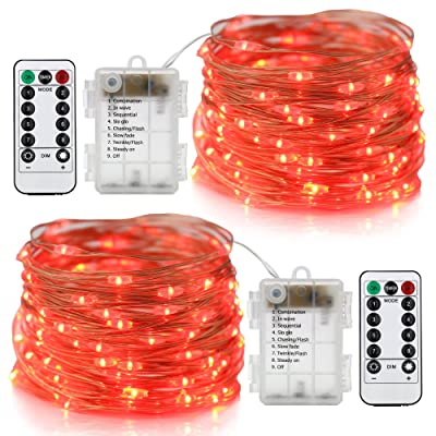 Xingpold 2 Set Fairy String Lights Battery Operated Waterproof 8 Modes Twinkling 100 LED String Lights 33FT Copper Wire Firefly Lights Remote Control for Bedroom Wedding Festival Decor (Red) : Garden & Outdoor