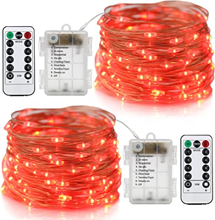 Red Homeleo 2 Set Battery Operated LED Copper String Lights 16.4ft 50 LED 8 Modes Dimmable Fairy Lights with Remote Control