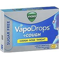 Vicks VapoDrops +Cough Sugar Free Lemon Menthol Lozenges 16 Pack