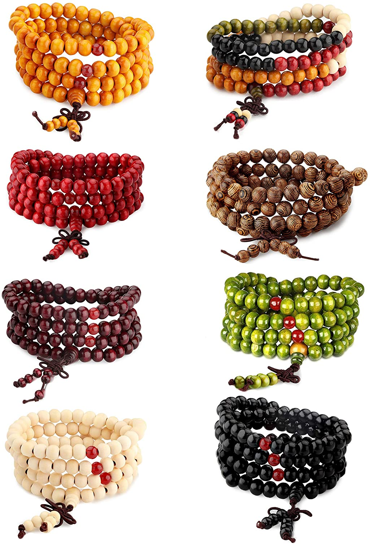 Sandalwood Wrist Mala 108 Beads Elastic Bracelet 20 Inches Black