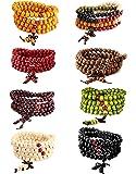 LOYALLOOK Wood Bracelet 108 Mala Bead Bracelets Wood Prayer Beads Sandalwood Link Wrist Necklace Chain for Men Women…