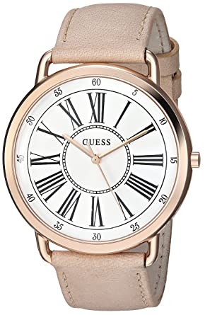 9690e0f48 GUESS Women's Stainless Steel Leather Classic Watch, Color: Pink/Rose  Gold-Tone