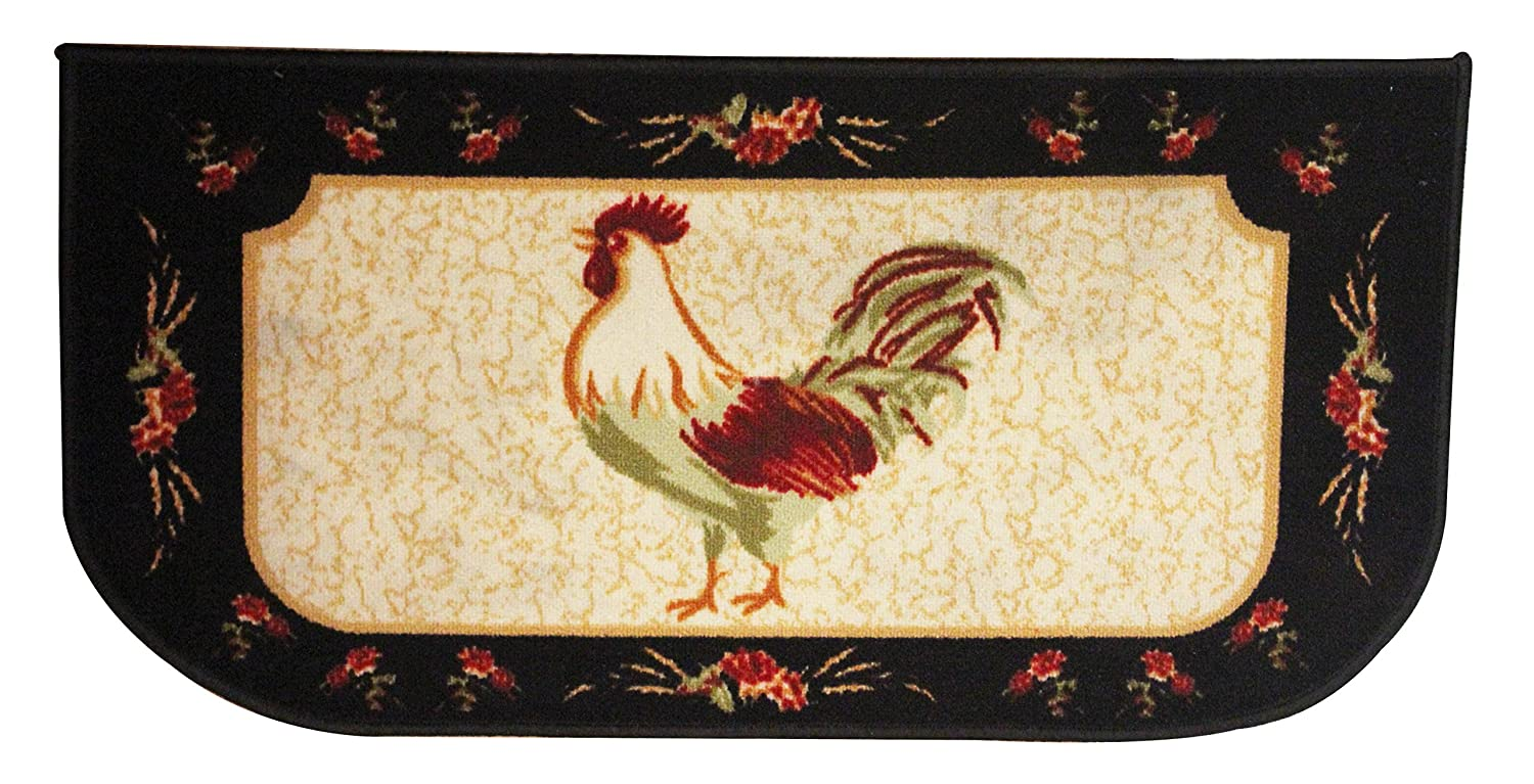 """Kashi Home Rooster Series Kitchen Rug 18"""" X 30"""" D-Shape Kitchen Mat with Latex Back"""
