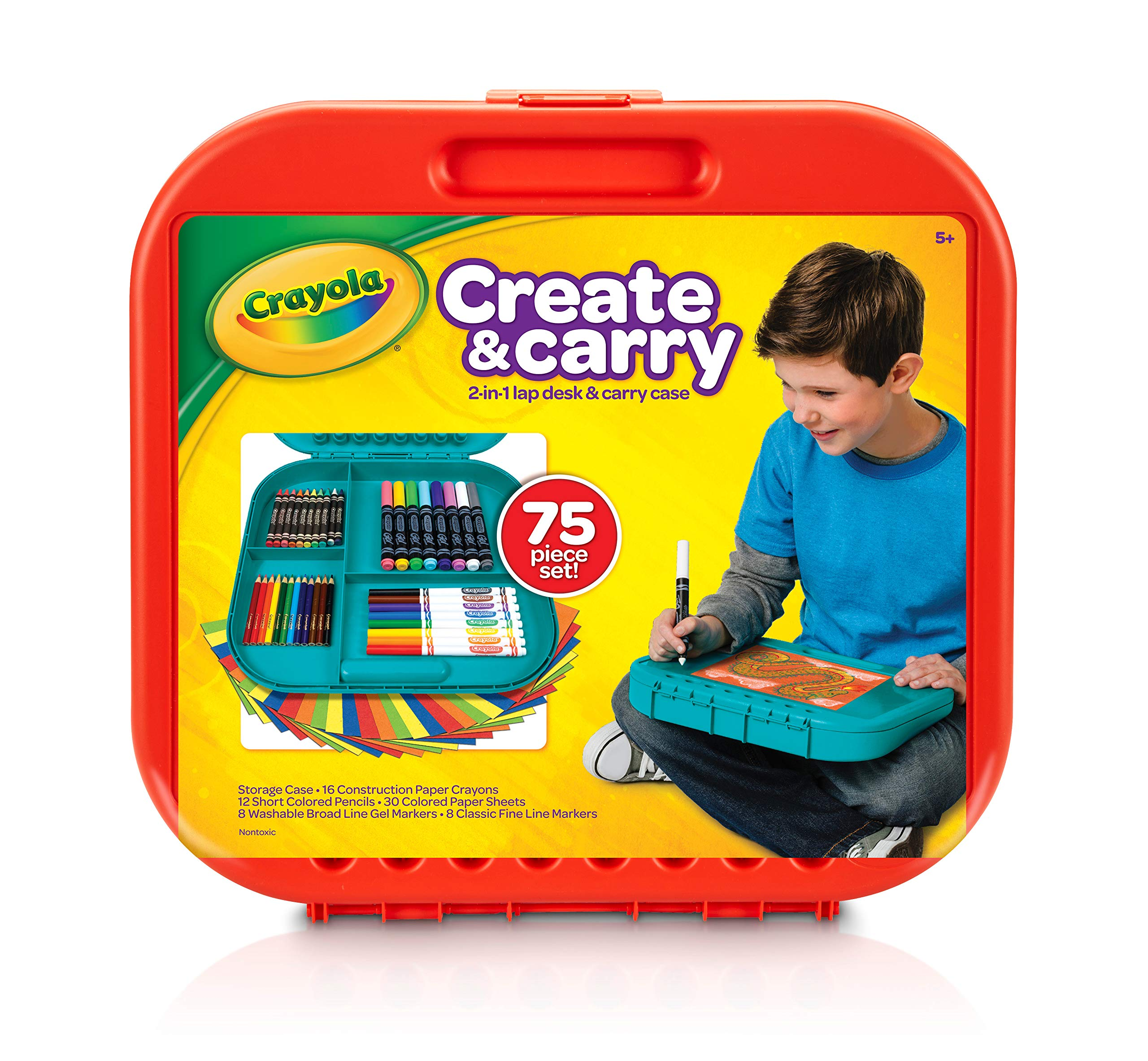 Crayola Create 'N Carry 75Piece Art Kit Art Gift for Kids 5 & Up, 2-in-1 Portable Lap Desk & Carry-Case for Child Artists On-The-Go, Includes Markers, Crayons, Colored Pencils & Paper, Styles May Vary by Crayola