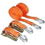 Braun 1000-2-600+3030/VE2 Spanngurt 2000 daN, zweiteilig, Farbe orange, 6 m Länge, 35 mm Bandbreite, mit Ratsche und Karabinerhaken