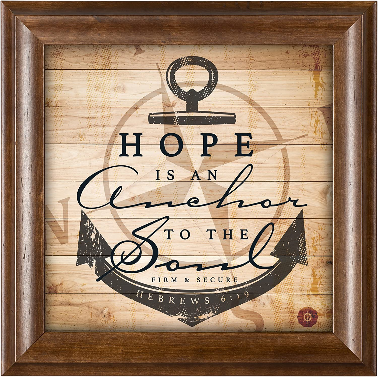 Cottage Garden Hope is an Anchor Inspirational 12 x 12 Woodgrain Framed Wall Art Plaque