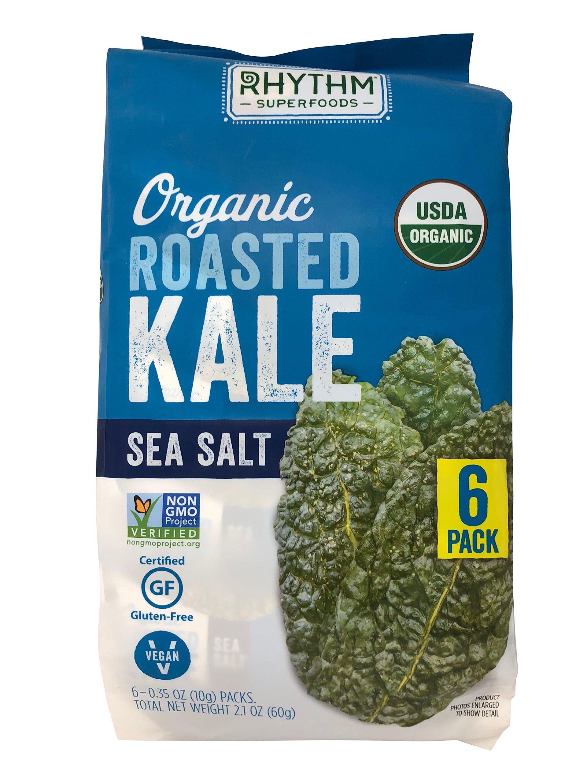 Rhythm Superfoods Organic Roasted Kale with Sea Salt 6-0.35 OZ Packs Net 2.1 OZ