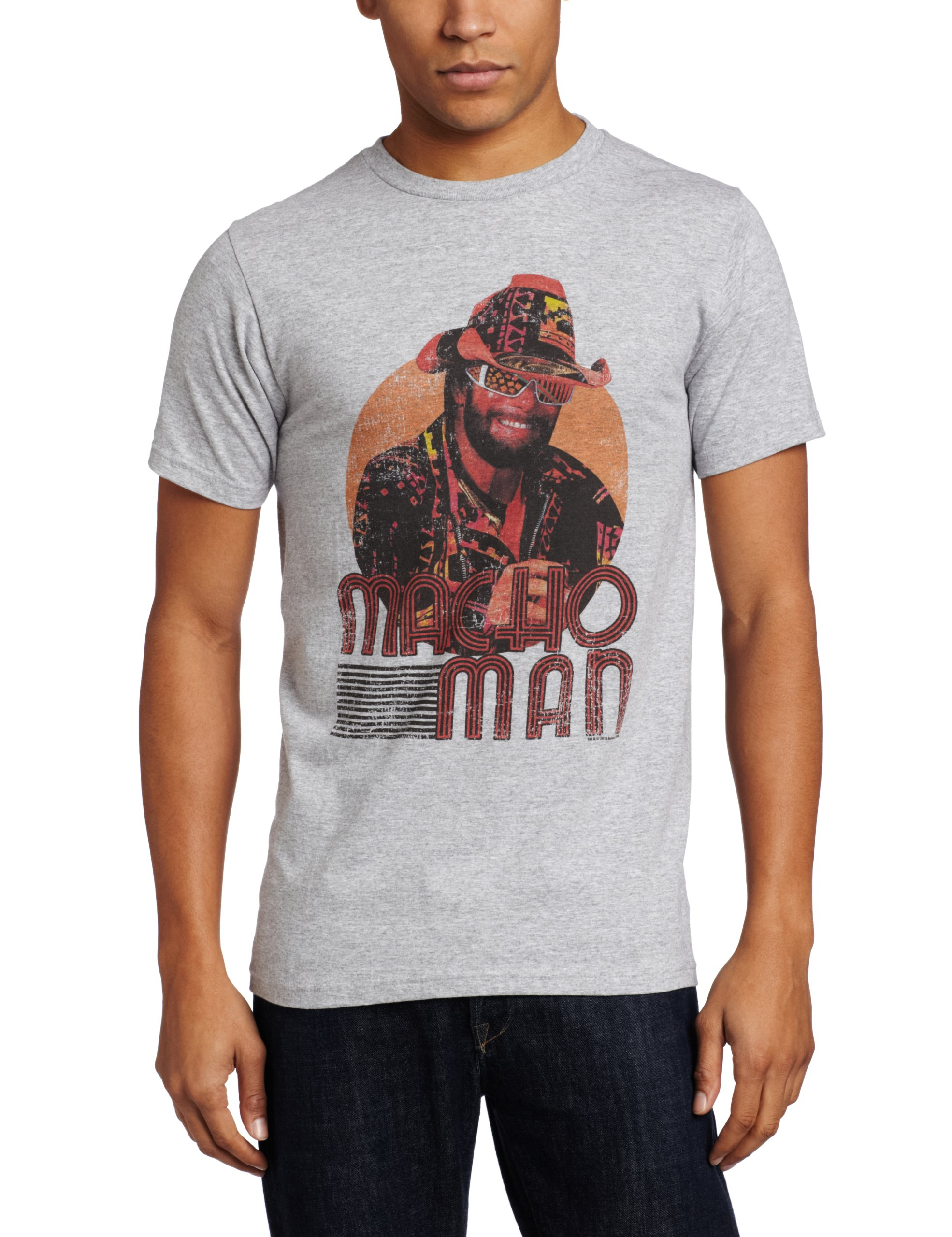 American Classics Men's Macho Man Mackin' and Smackin' T-Shirt, Gray, Large