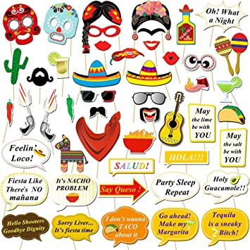 Howaf Fiesta Mexicana Photo Booth Props Cabina de Fotos Accesorios Photocall Gafas máscara Sombreros para Cinco de Mayo Mejicano Fiesta de cumpleaños Boda Carnaval decoración Suministros (56pcs): Amazon.es: Juguetes y juegos