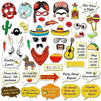Howaf Fiesta Mexicana Photo Booth Props Cabina de Fotos Accesorios Photocall Gafas máscara Sombreros para Cinco de Mayo Mejicano Fiesta de cumpleaños ...