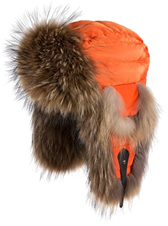 Amazon.com  Overland Sheepskin Co Orange Down-Filled Trapper Hat ... 58c7ab115ba