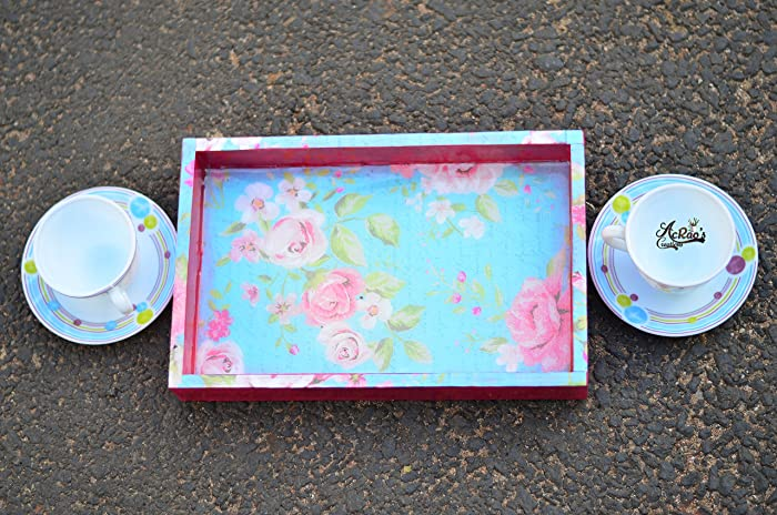 Amazon Wooden Tray Floral Print Serving Tray Coffee Tray Tea