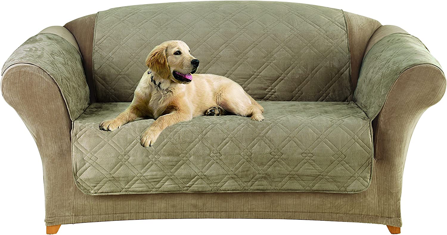Sure Fit Home Décor Microfiber Pet Loveseat One Piece Quilted Furniture Throw Cover, Relaxed Fit, Polyester, Machine Washable, Sable Color