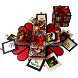 Crack of Dawn Crafts 3 Layered Romantic Heart Explosion Box for Birthday - Black Text
