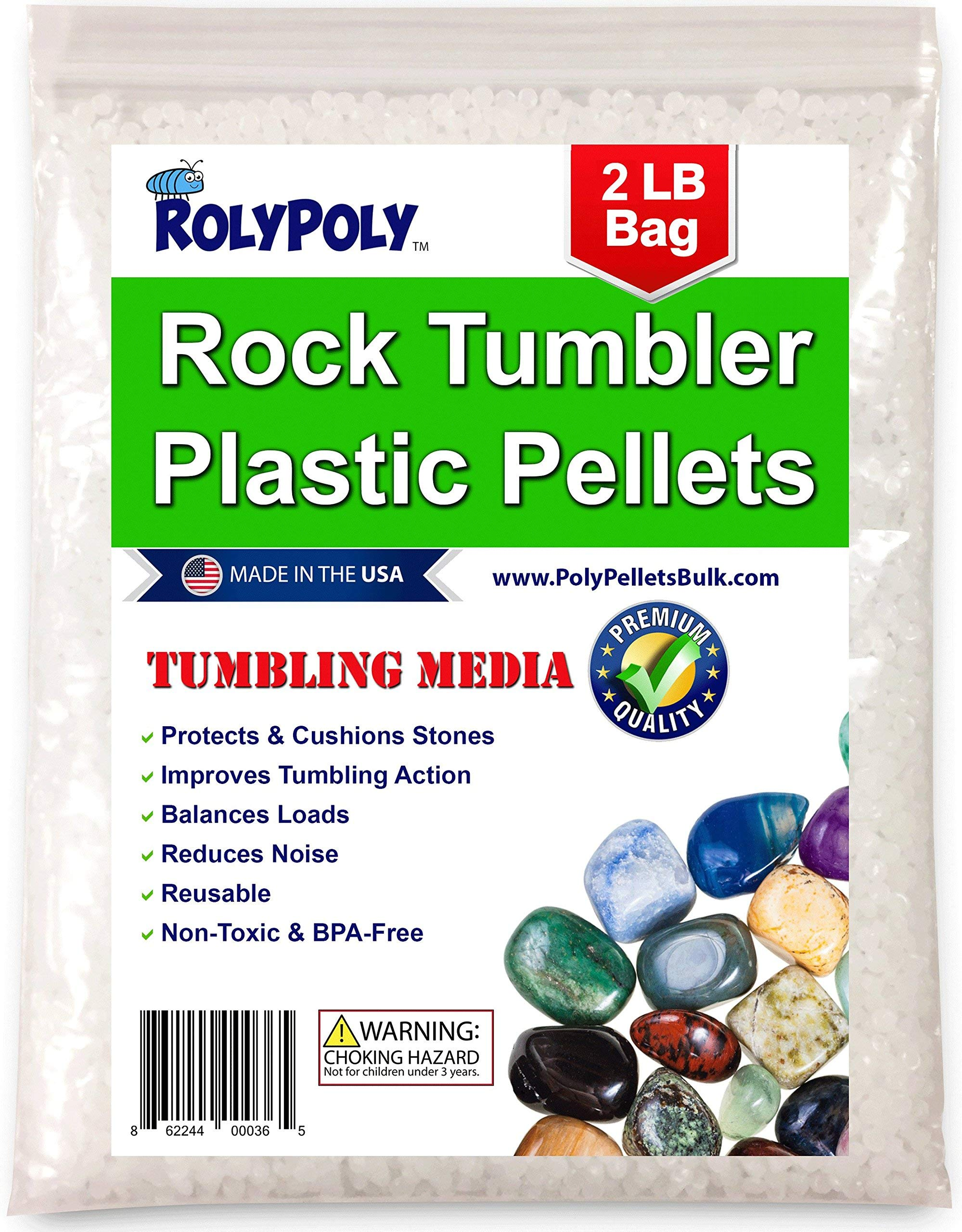 Plastic Pellets Rock Tumbling Media (2 LBS) for Rock Tumbler, Stone Tumbler, Rock Polisher, Filler Beads by RolyPoly