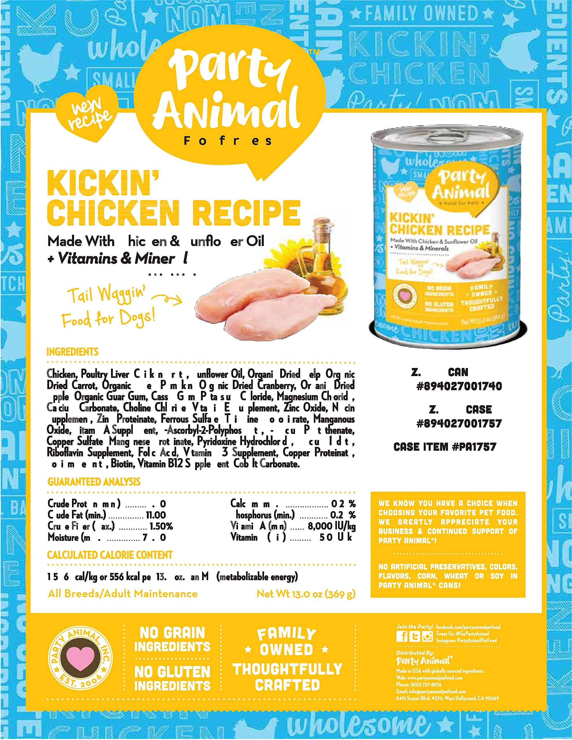 Party Animal DOG FOOD Pack of 12 13oz cans (KICKIN CHICKEN) Gluten free Grain Free