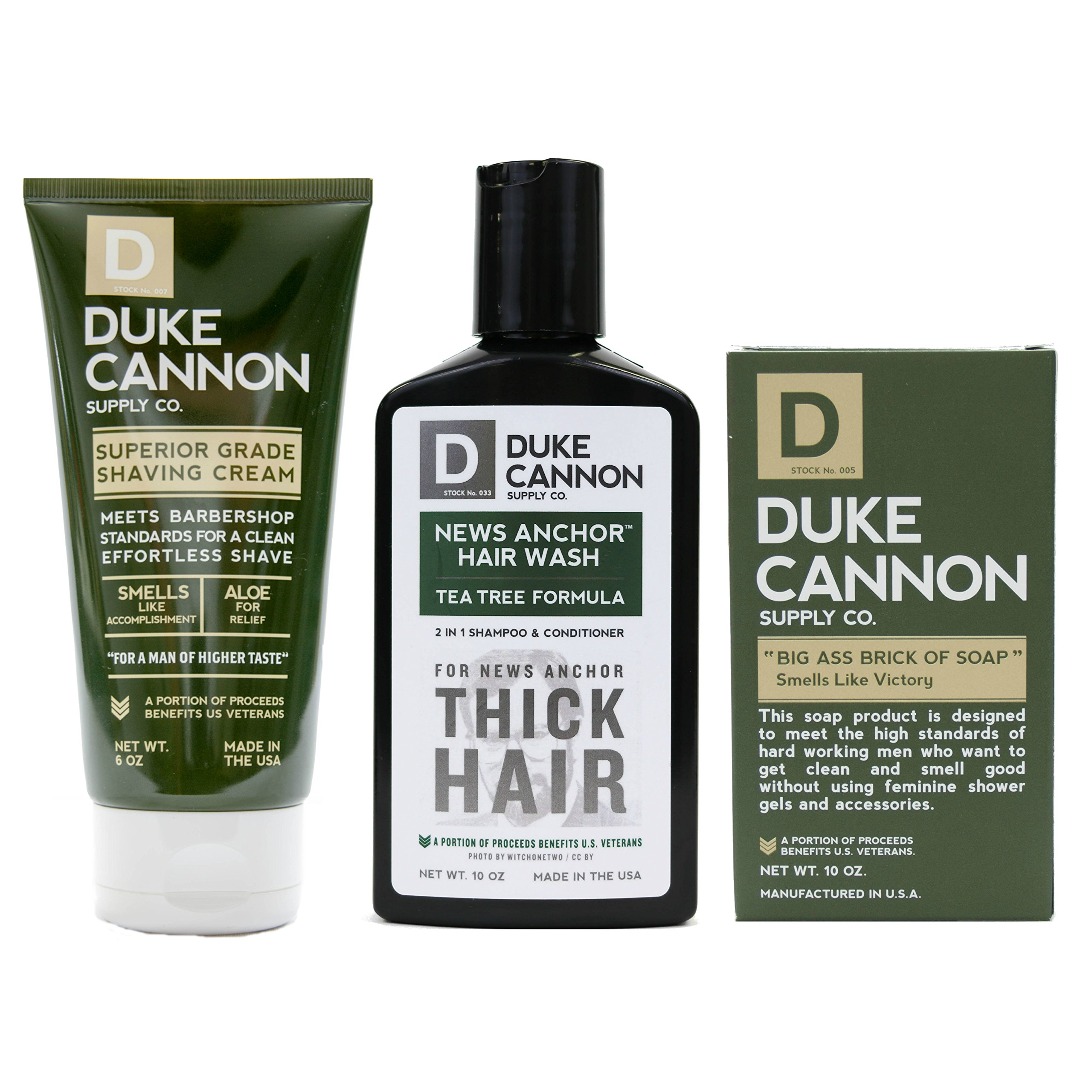 Duke Cannon Supply Co. - Mens Grooming Bundle (3 Piece) Includes News Anchor Thick Hair Wash, Smells Like Victory Bar Soap, and Superior Grade Shaving Cream