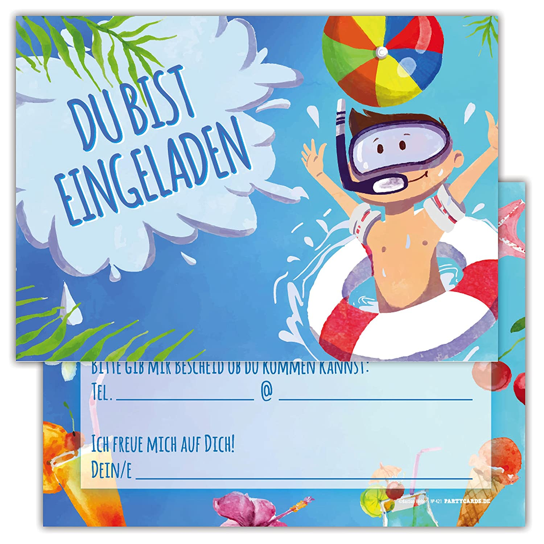 12 Lustige Einladungskarten Set Kindergeburtstag Motiv Pool
