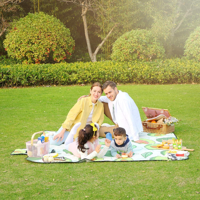 Park wasserdichte Unterseite Campingdecke SONGMICS Picknickdecke Avocado-Muster GCM087C03 maschinenwaschbar faltbar Camping f/ür Garten Strand 200 x 200 cm gro/ße Stranddecke