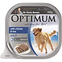 OPTIMUM Chicken and Rice Wet Dog Food, 100g Tray, 12 Pack, Adult, Small/Medium/Large