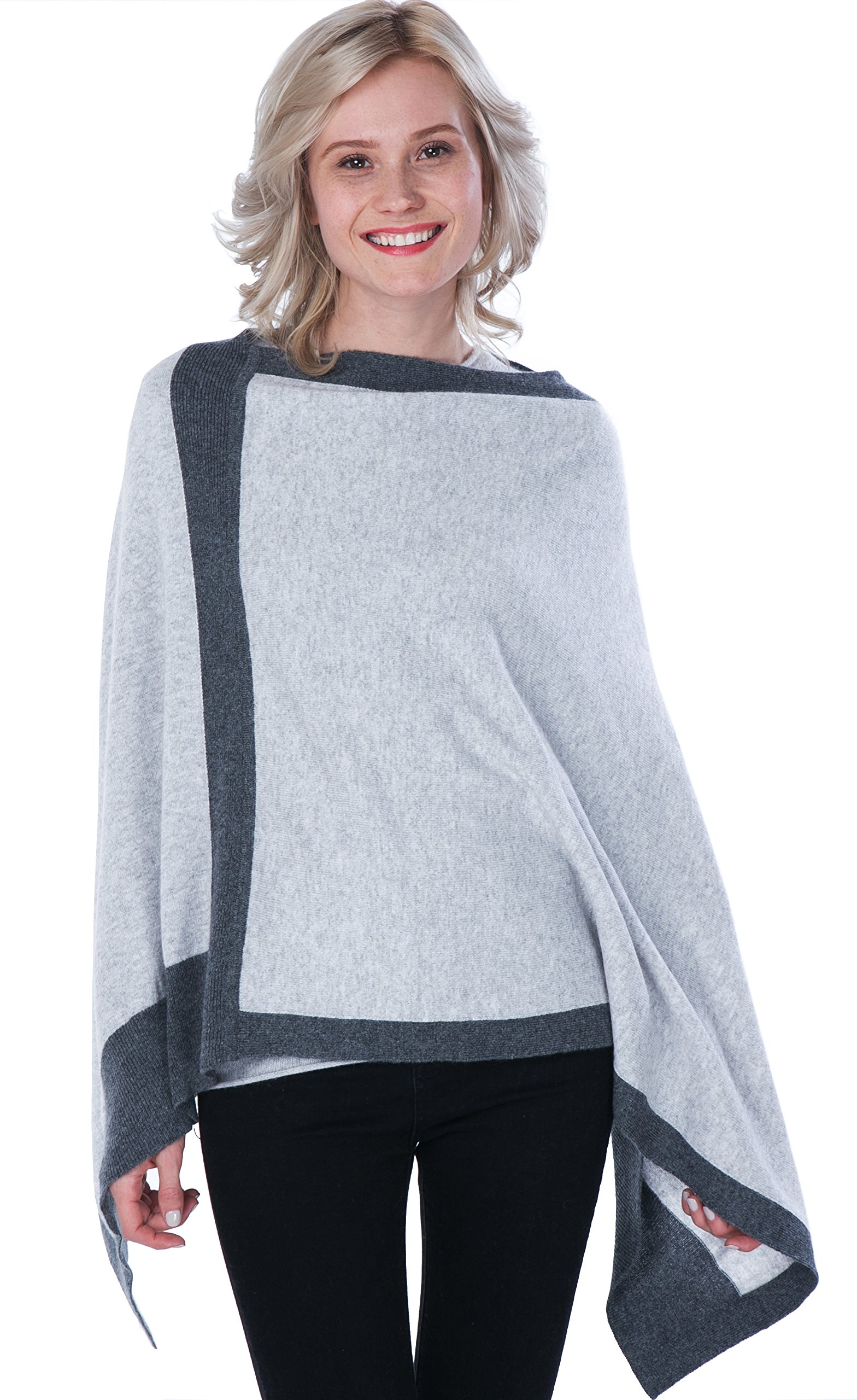 100% Cashmere Poncho Asymmetrical Boat Neck Wraps for Women by cashmere 4 U,Argent With Gris Moyen Border (Light Gray-dark Gray),One Size