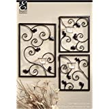 Hosley Wall Sconce Set (3 Piece). Iron Tea Light Modern Wall Art Plaque for Your Home, Spa, Aromatherapy or As a Gift