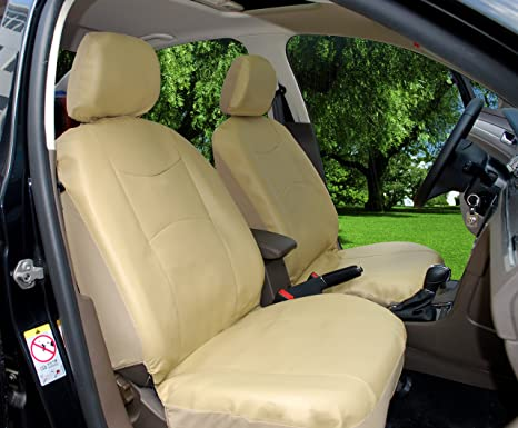 115903 Tan Leather Like 2 Front Car Seat Covers Compatible To Nissan Altima  200Sx 240Sx