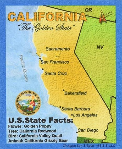 Mejor Ultimate Mapa del Estado de California de viaje coleccionable Souvenir – Parche Destino Mapa souvenir