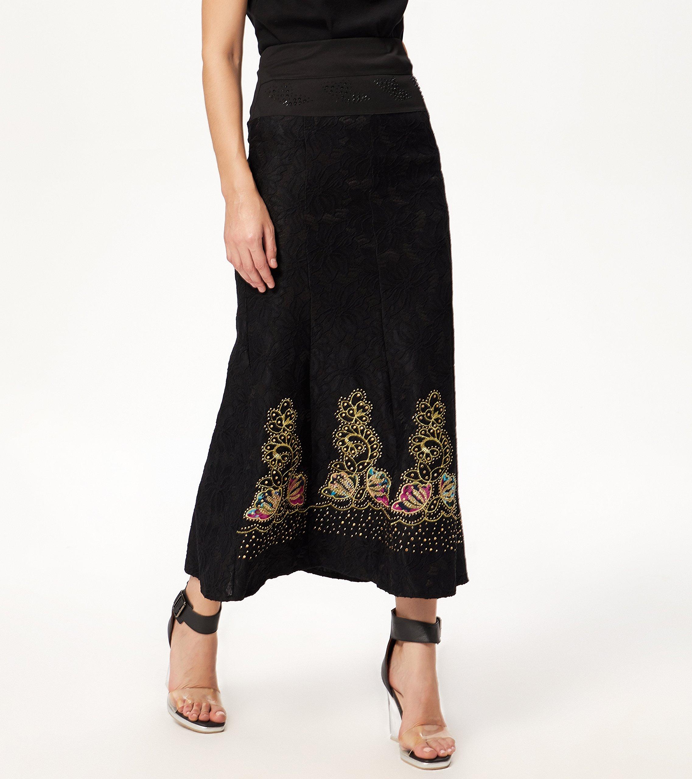 Goddess Area Women\'s Hot Drilling High Waist Casual Maxi Skirt (L, Black)
