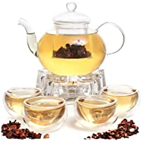 9 PCS Glass Tea Kettle Infuser Gift Set,Borosilicate Glass Teapot with removable glass strainer, 4 cups, Glass Crystal…