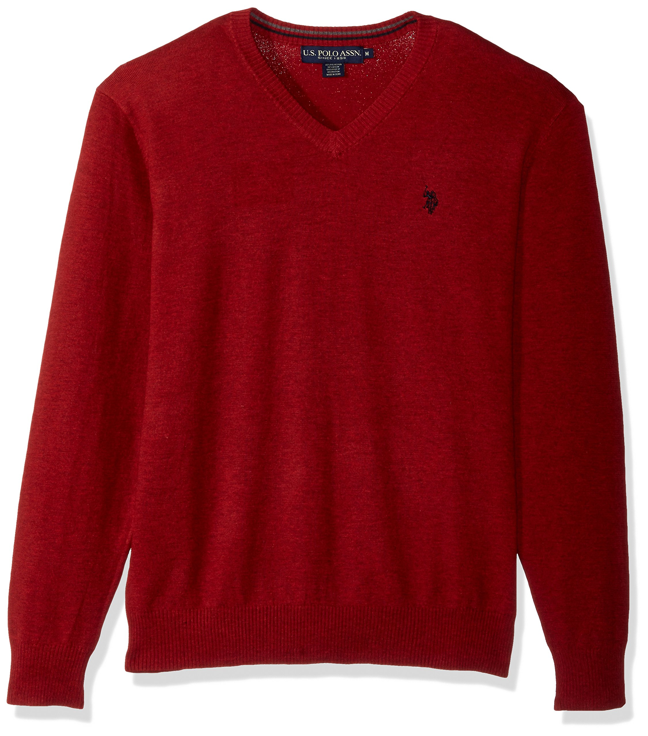 U.S. Polo Assn. Men's Stretch Fabric Solid V-Neck Sweater, Strawberry Heather, X-Large