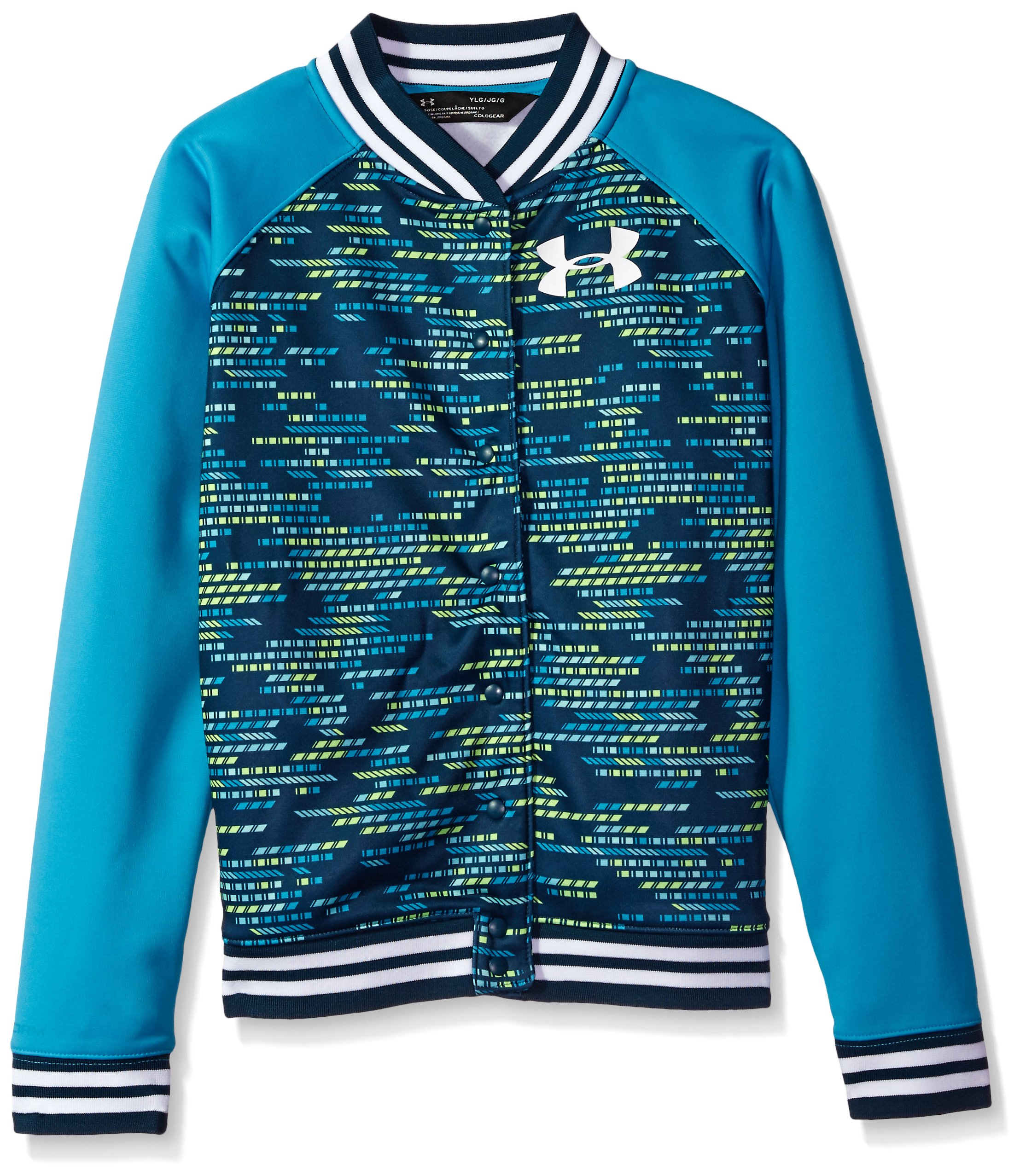 Under Armour Girls' Armour Fleece Bomber,Blue Shift (929)/White, Youth Large by Under Armour