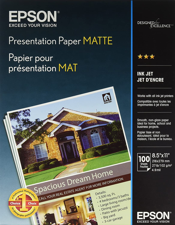 Epson Presentation Paper Matte, 8.5 x 11 Inch, 100 Count (S041062)