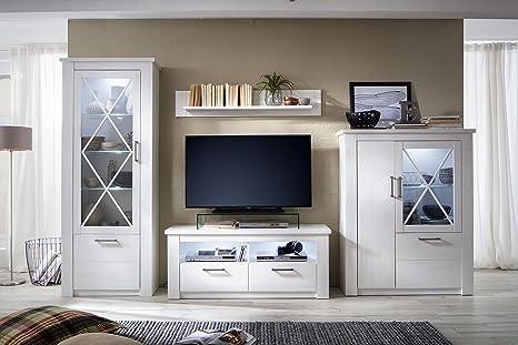Trendteam Smart Living Wohnzimmer Anbauwand Wohnwand Wohnzimmerschrank Georgia 365 X 205 X 47 Cm In Pinie Weiß Struktur Dekor Im Landhausstil