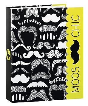 Moos - Carpeta anillas folio, diseño Moustache (Safta 511418657): Amazon.es: Juguetes y juegos