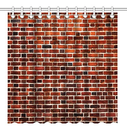 Amazon Wknoon 72 X Inch Shower Curtain Vintage Red Brick