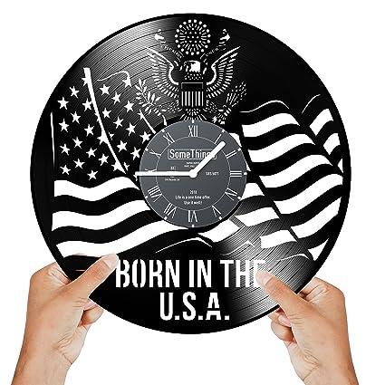Amazoncom Vinyl Clock Born In The Usa Us Flag Clock Vinyl - Us-clock-map