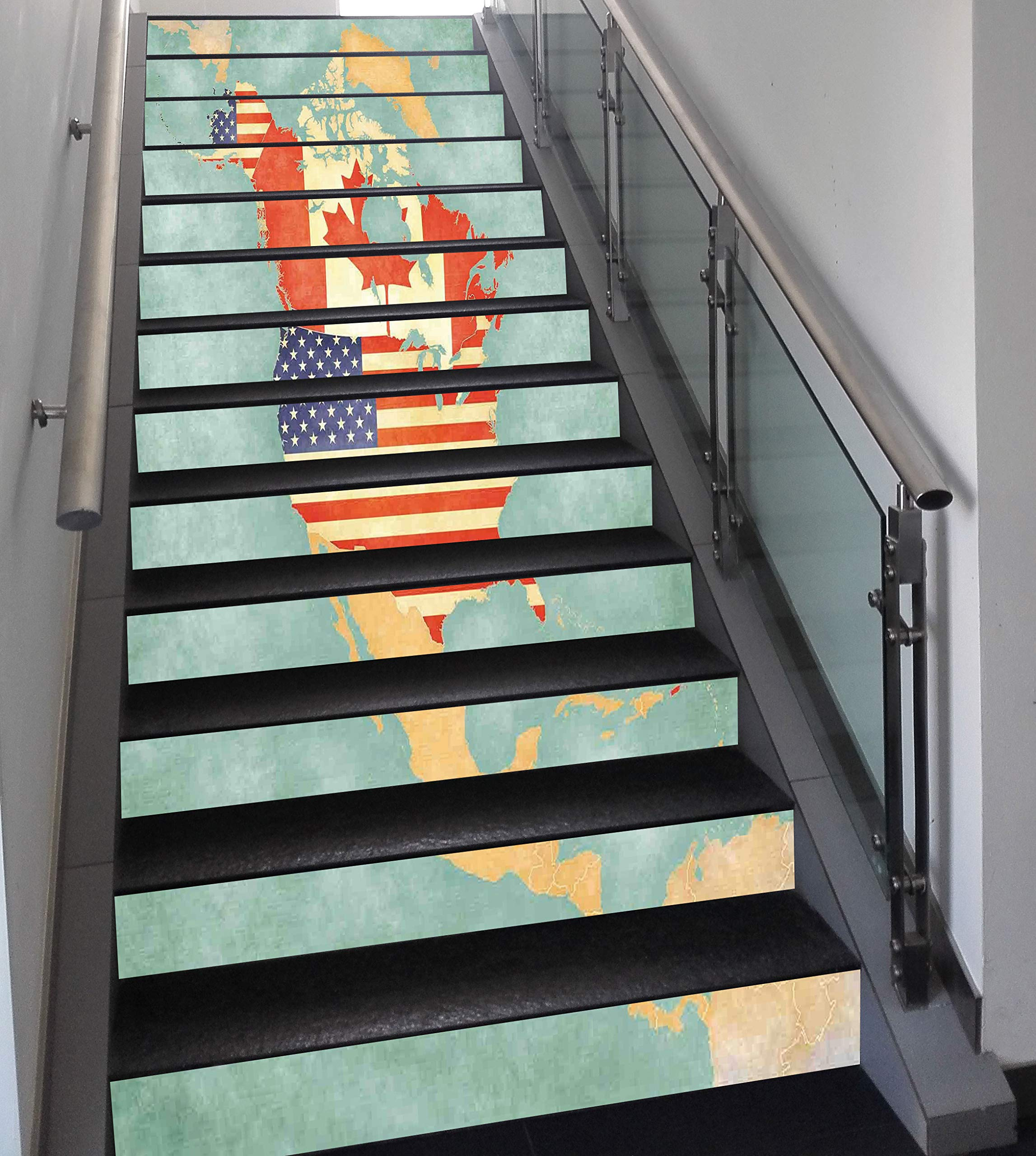 Stair Stickers Wall Stickers,13 PCS Self-adhesive,Wanderlust Decor,States and Canada Outline Map of the North America in Grunge Stylized Soft Colors,Multi,Stair Riser Decal for Living Room, Hall, Kids