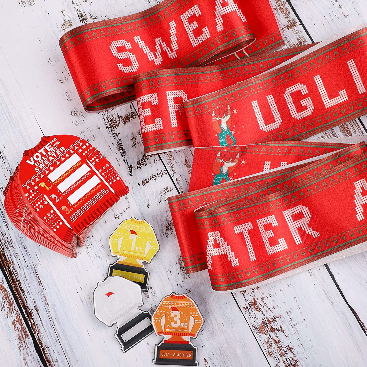 URATOT 3 Pieces Christmas Ugliest Sweater Award Sashes and 3 Pieces Top Three Sweater Trophy Shape Medal Badge for Christmas Sweater Party Supplies
