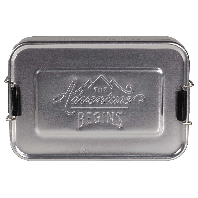 Gentlemen's Hardware Aluminum Lunch Box, Silver Wild & Wolf - L&G AGEN026