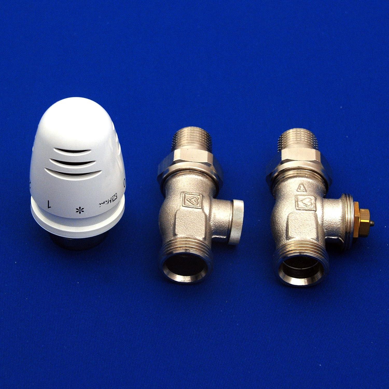 Thermostat BZP5DG Anschlussgarnitur f/ür Badheizk/örper Heizk/örper DURCHGANG inkl