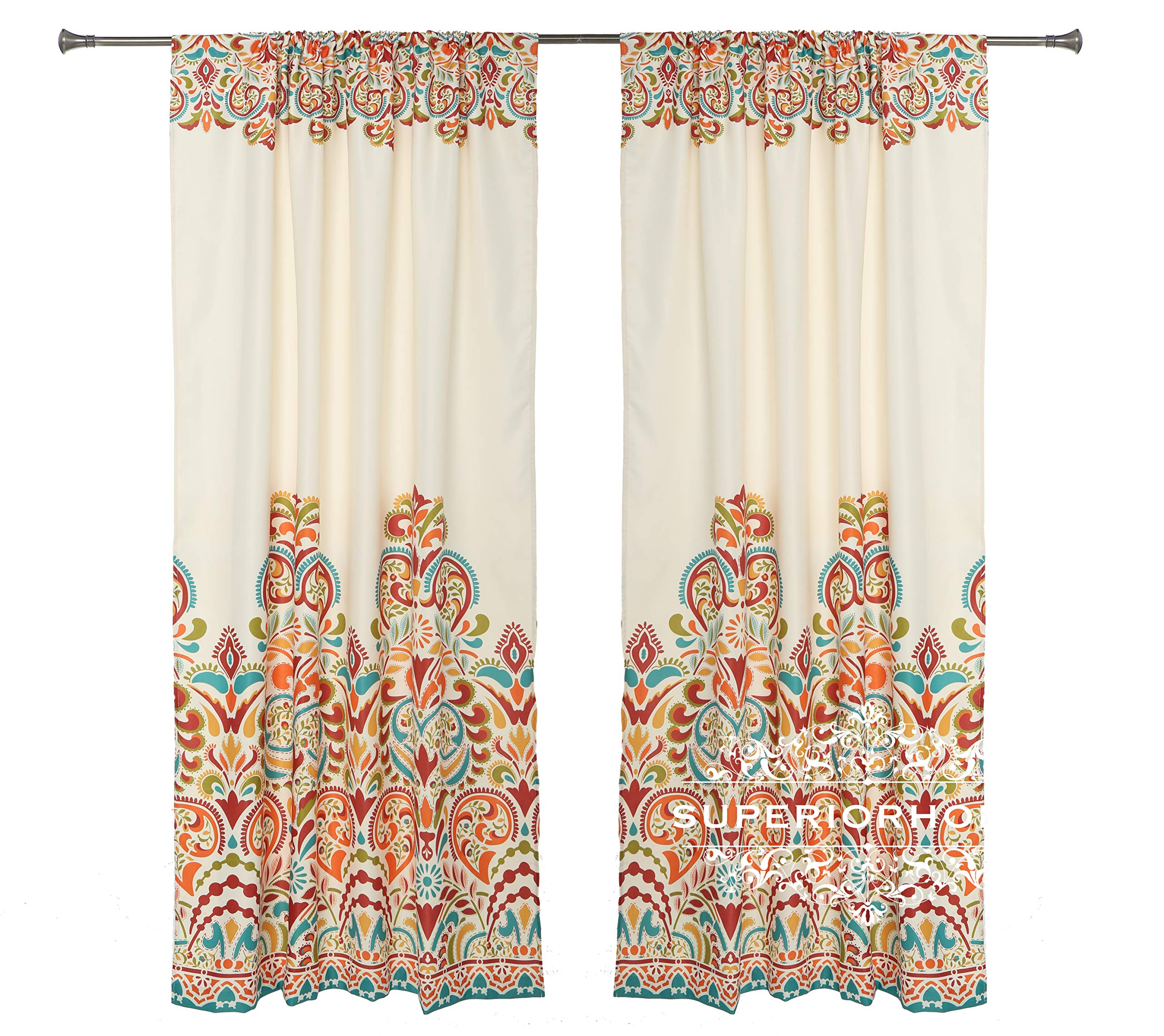 Set of 2 Rod Pocket Brocade Print Curtains, Beige Red Orange Blue Green Window Curtain 52'' x 84'' (Total W 104'') Decorative Curtain Drape Panels - Soft/Heavy Quality Room Darkening Curtains by Sapphire Home