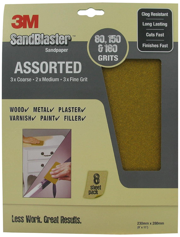 SandBlaster 3M 28150 Lot de 8 feuilles de papier de verre Grain moyen P150 230 x 280 mm
