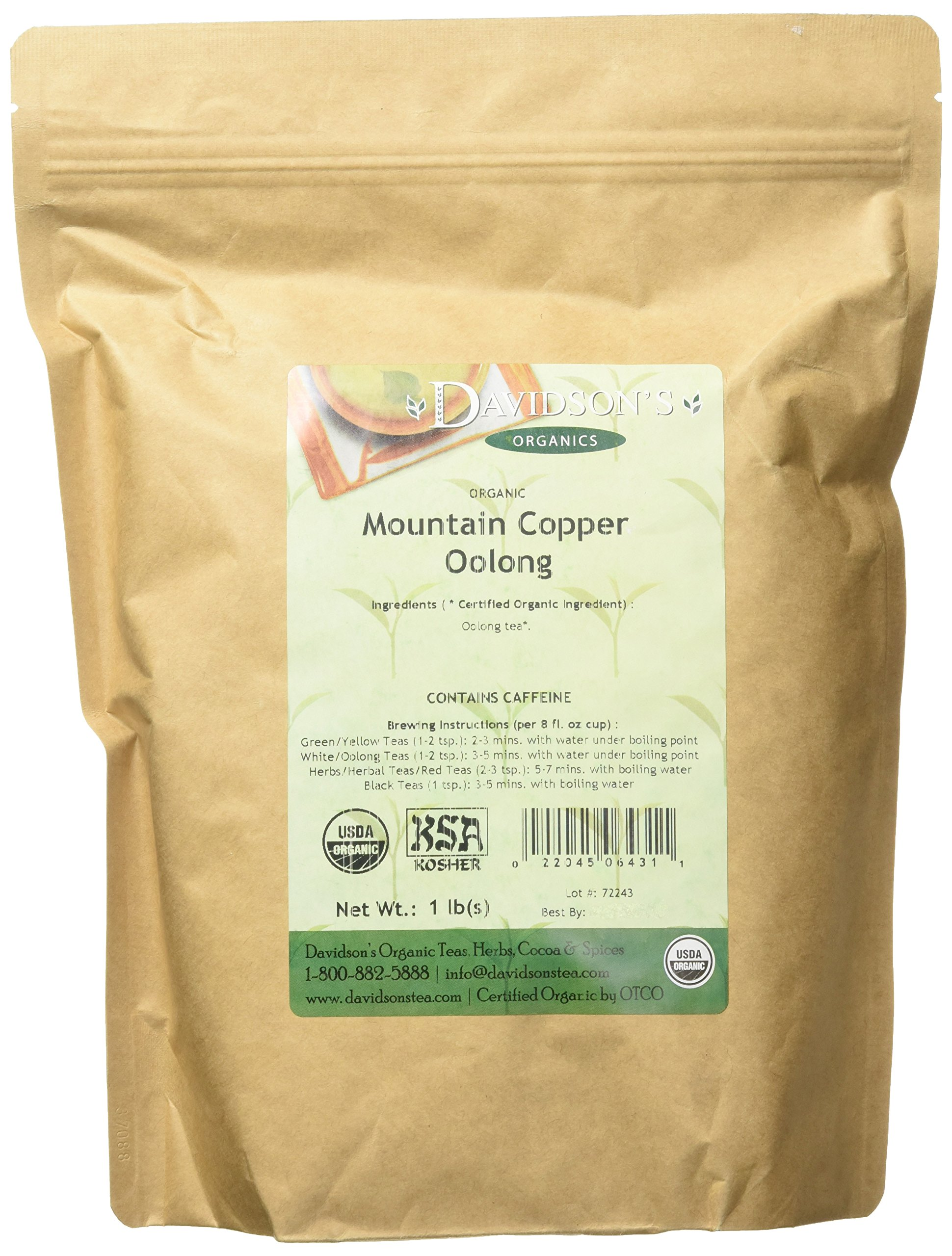 Davidson's Tea Bulk, Organic Mountain Copper Oolong, 16-Ounce Bag