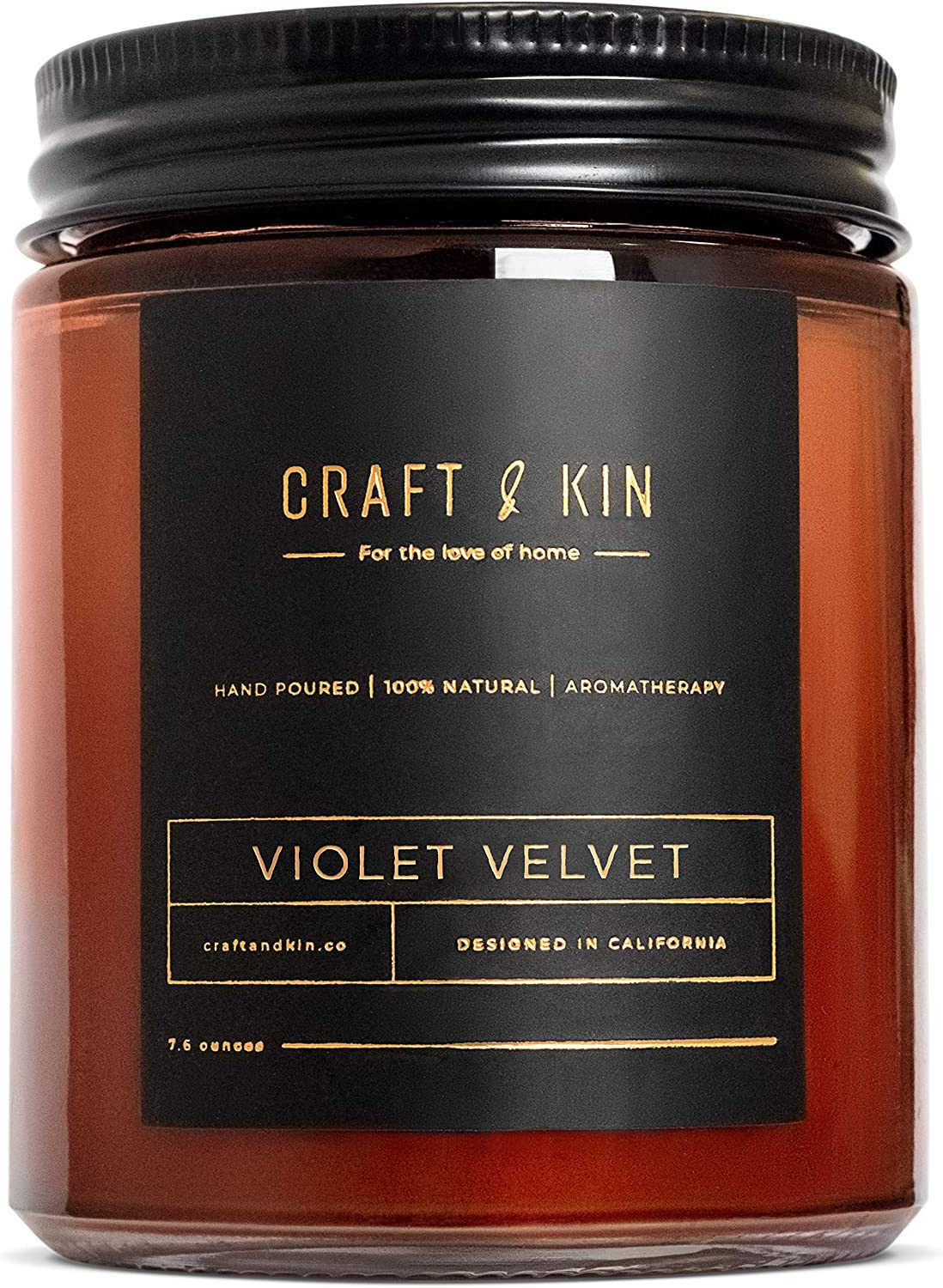 Craft & Kin Soy Candles, Premium 'Violet Velvet' Scented Candles for Men & Women | All-Natural Soy Wax Rustic Home Decor Rustic Scented Candles | Non-Toxic, Ultra Clean Burn Amber Jar Candles