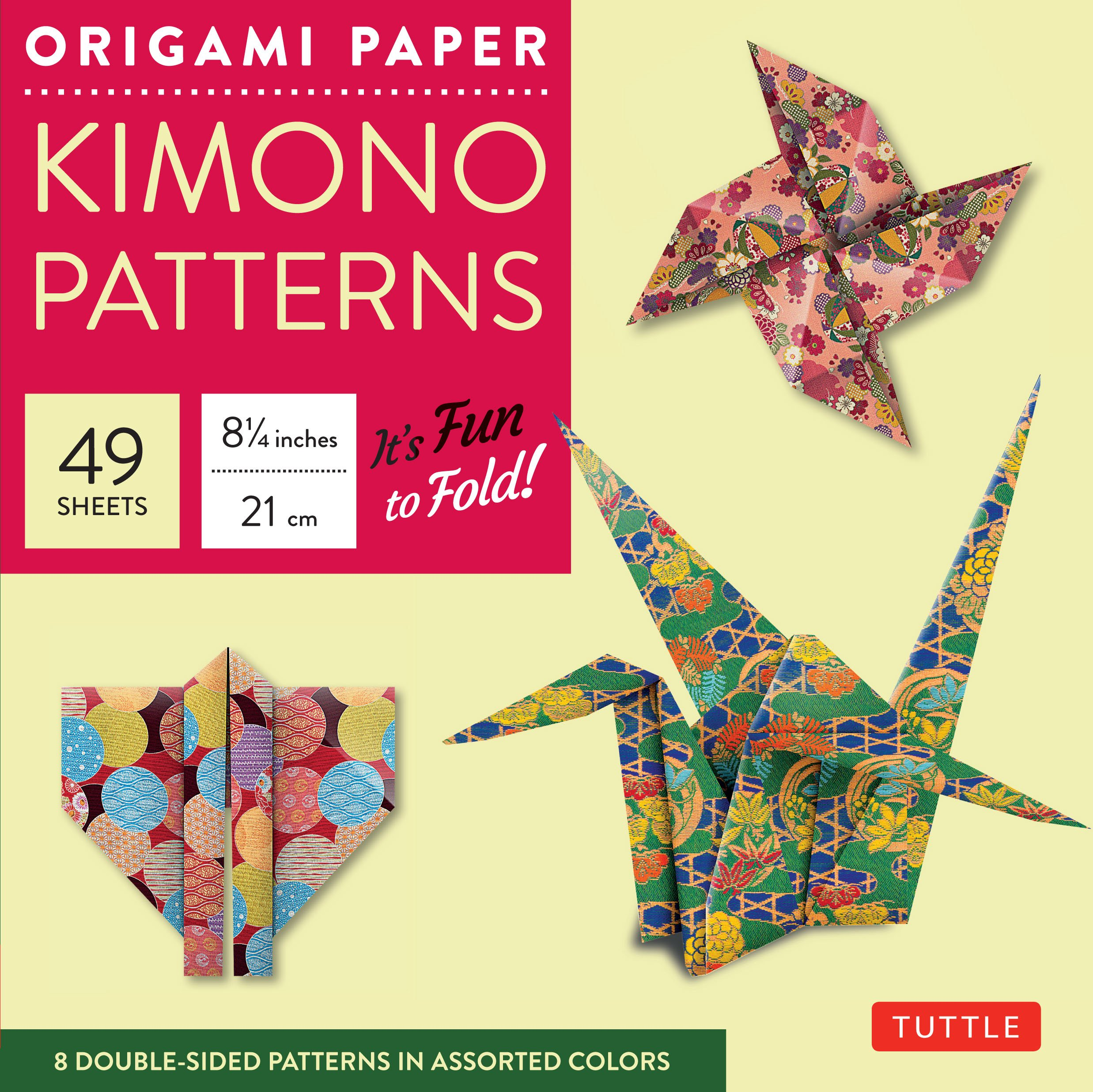 "Origami Paper - Kimono Patterns - Large 8 1/4"" - 48 Sheets: Tuttle Origami Paper: High-Quality Origami Sheets Printed with 8 Different Designs: Instructions for 6 Projects Included Loose Leaf – October 10, 2009 Tuttle Publishing 4805310715 4336880745 ART"